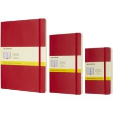 Красная записная книжка в клетку Moleskine Classic Soft