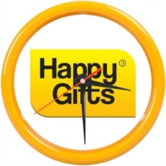 Настенные часы PRINT для рекламной вставки (цвет — желтый)