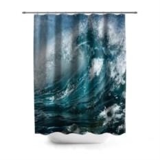 3D-штора для ванной Волна