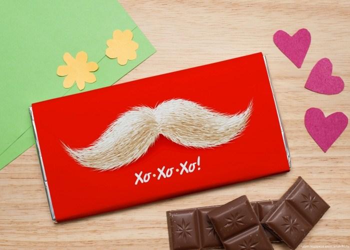 Шоколадная открытка Усы Деда Мороза
