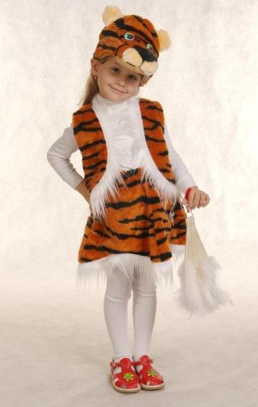 Карнавальный костюм Тигр (головной убор, жилет, юбка)