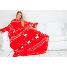 Плед с рукавами Sleepy New Year красный с белыми оленями