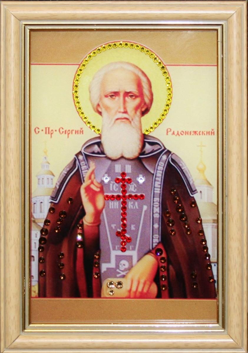 Икона с кристаллами Сваровски Сергия Радонежского