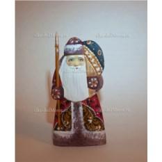 Игрушка из дерева Дед Мороз с мешком, высота 15 см