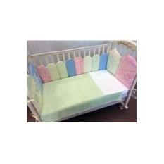 Набор постельного белья в кроватку с бортиками Домики
