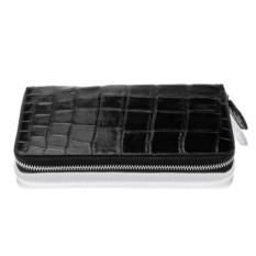Черный кошелек-клатч на молнии из кожи крокодила