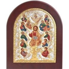 Икона в серебряном окладе Спас Древо Жизни