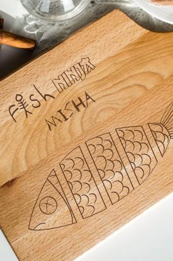 Доска разделочная с вашим текстом Fish ninja
