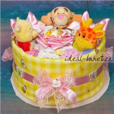 Торт из памперсов и одежды Подарок малышке