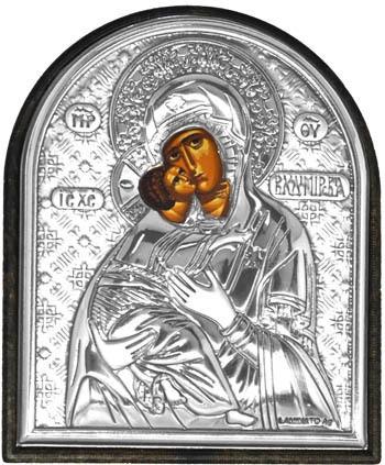 Маленькая серебряная икона.Владимирская Богородица