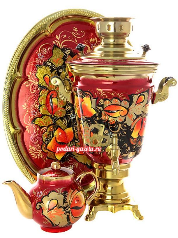 Набор для чаепития Золотые цветы на бордовом фоне