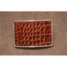 Пряжка для ремня с кожаной вставкой. Коллекция G.Design (коричневый, крокодил; нат. кожа)