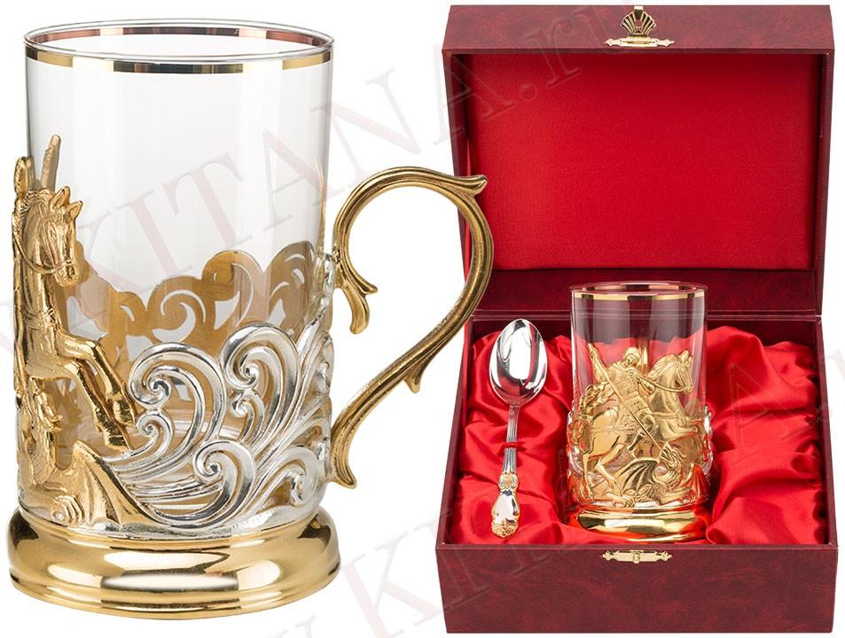 Позолоченный набор для чая Георгий-Победоносец