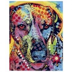 Картина-раскраска по номерам на холсте Цветной пёс