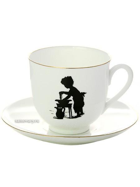 Чашка с блюдцем кофейная Умывание, серия Силуэты, фарфор