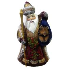 Игрушка из дерева Дед Мороз с медведем, высоста 26 см