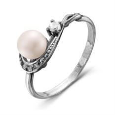 Серебряное кольцо с жемчугом и фианитом