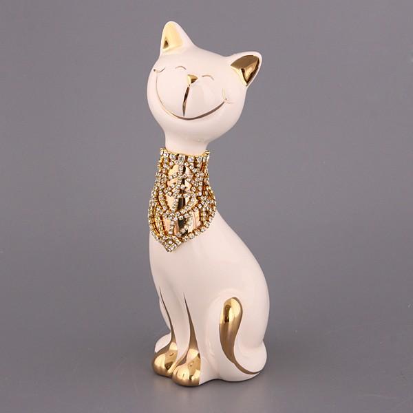Фигурка Кошка с золотым украшением