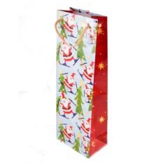 Новогодний подарочный пакет под бутылку 13*36см