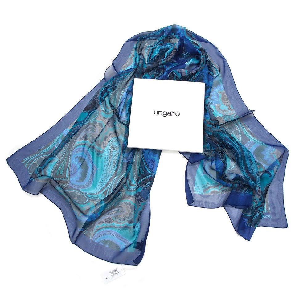 Стильный синий палантин с узорами Пэйсли Ungaro
