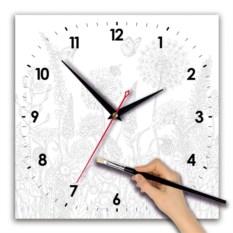 Квадратные часы-раскраска Полевые цветы