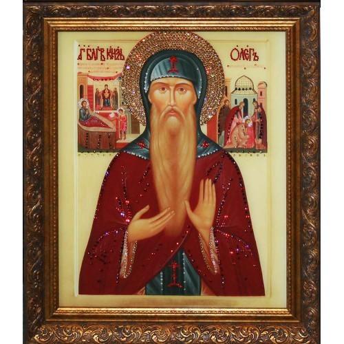 Икона с кристаллами Swarovski Святой Князь Олег