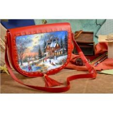 Женская сумка-седло Зима в уютном пригороде