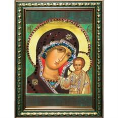 Малая икона с кристаллами Swarovski Казанская Божья Матерь
