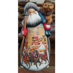 Игрушка из дерева Дед Мороз с медведем, высота 36 см