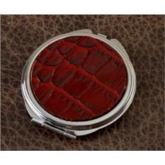 Карманное зеркальце, коллекция Elole Design (красный крокодил, тип 2)