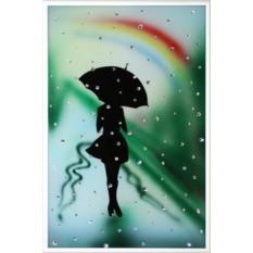 Картина Девушка под радугой, 121 кристалл, 20х30см