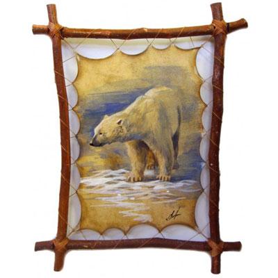 Картина на коже «Белый медведь»