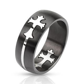 Черное кольцо из стали Spikes Кельтский крест
