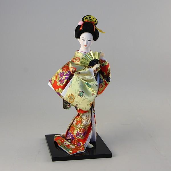 Коллекционная фарфоровая фигурка гейши в красном кимоно