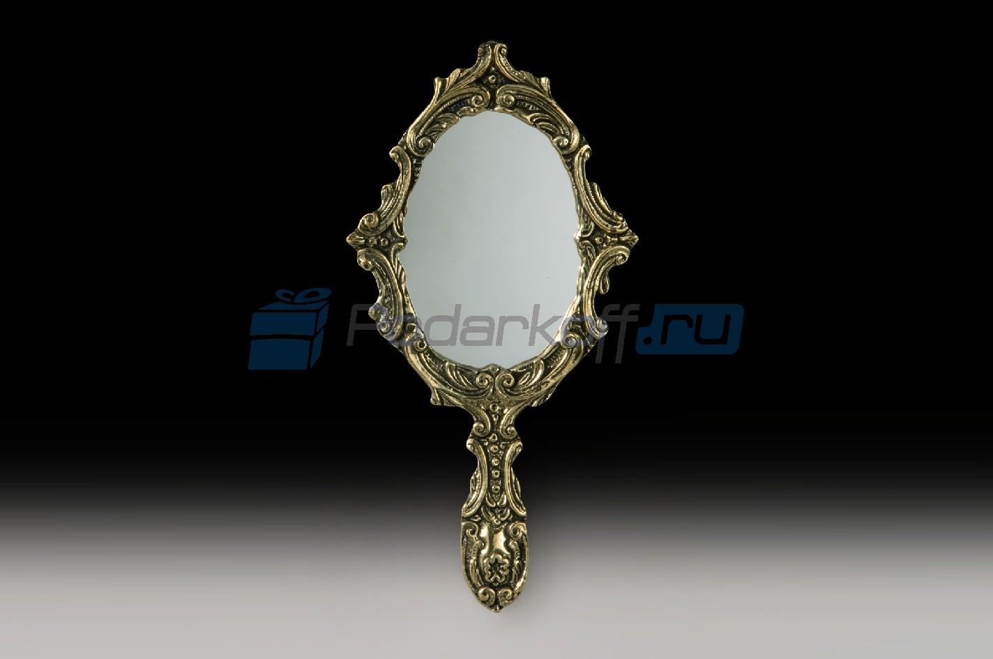 Зеркало с ручкой Моника, цвет золотой