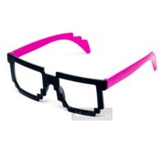 Пиксельные очки с розовыми дужками