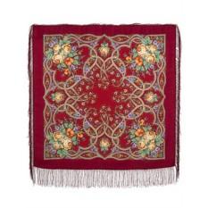 Красный Павловопосадский платок Марья-искусница