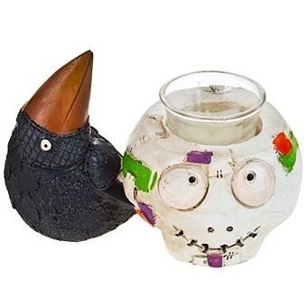 Подсвечник для свечи-таблетки Черный ворон с тыквой