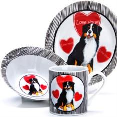 Набор детской посуды 3 предмета Собачка с сердечками