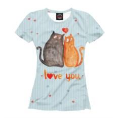 Женская парная футболка Влюбленные коты