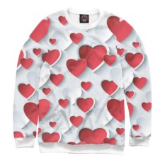 Белый женский свитшот Сердца