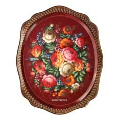 Поднос с художественной росписью Цветы на бордовом фоне