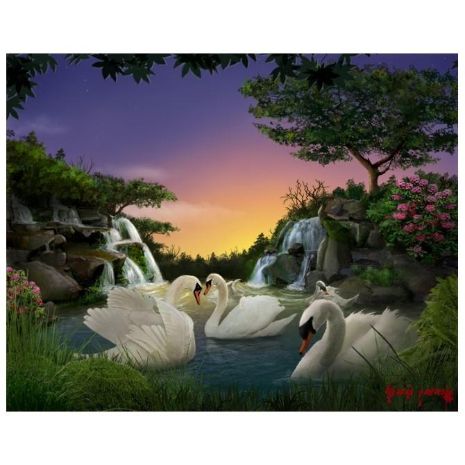 Картина-раскраска по номерам на холсте На пруду