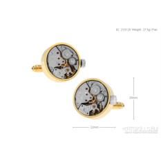 Запонки «Часовой механизм 3» в именной коробке с гравировкой