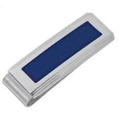 Хромовый зажим для денег с синей вставкой Caseti