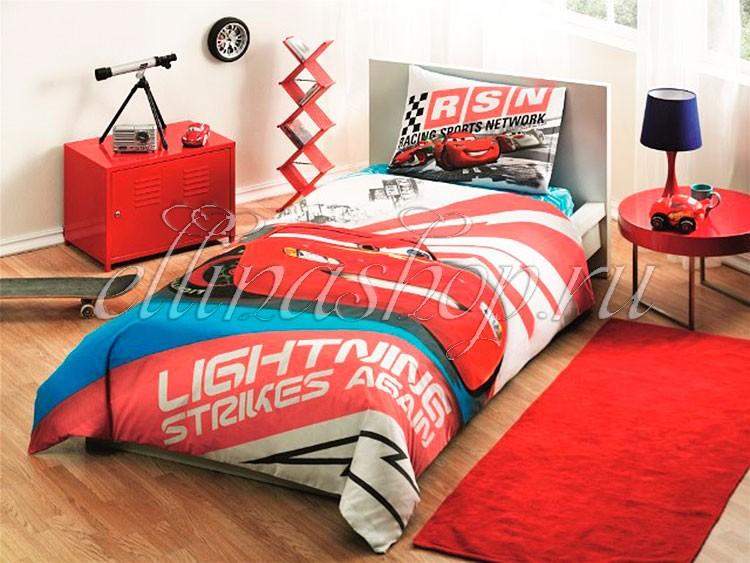 Бело-красный комплект белья из ранфорса Cars Lightning Tac