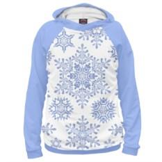 Голубое женское худи Снежинки
