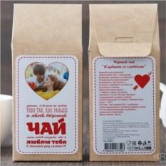 Чёрный чай Люблю тебя, с фото на упаковке