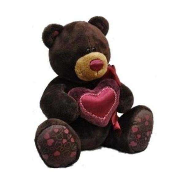 Мишка Шоколадный, с сердцем 30 см