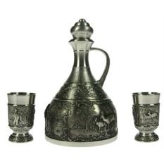 Оловянный подарочный набор для водки Лесная охота